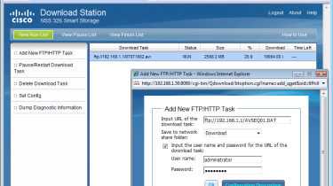 Cisco's Download Station app lets you download files from a FTP or web site without the aid of a computer.