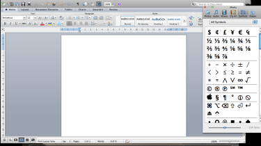 Inserting a symbol using the media palette in Microsoft Word 2011 for Mac