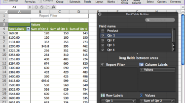 A PivotTable in Microsoft Excel 2011 for Mac