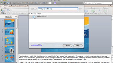 Saving a PowerPoint presentation to a Windows Live SkyDrive