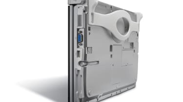 The Panasonic ToughBook CF-C1 and its bottom-mounted strap