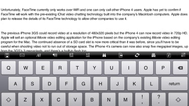Editing a Word document in Documents To Go using the iPad's onscreen keyboard