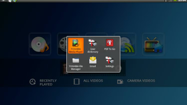 The app switcher for multitasking on the Toshiba AC100
