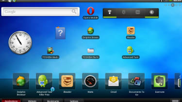 The AC100's home screen with Toshiba's app dock