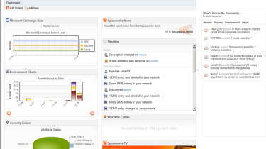 The Spiceworks dashboard gives you an overview of everything on your network, including a timeline that shows network events