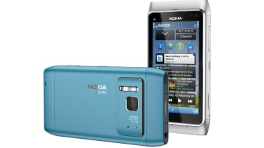 The back of a blue Nokia N8