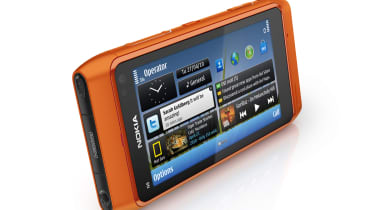 An orange Nokia N8