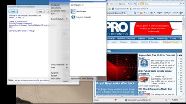 The Windows Start menu under Unity mode in VMWare Fusion 3