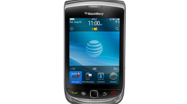 The BlackBerry Torch 9800's slider keyboard closed