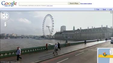 London Eye from Waterloo Bridge via Street View
