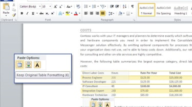 Microsoft Office 2010 Word Paste Preview
