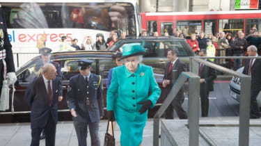The Queen makes her way up the steps for the busy visit ahead.