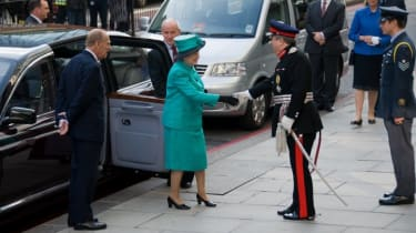 Her Majesty and the Duke of Edinburgh arrive outside Google's offices