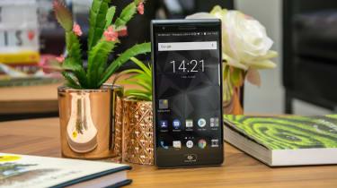 BlackBerry Motion smartphone standing up
