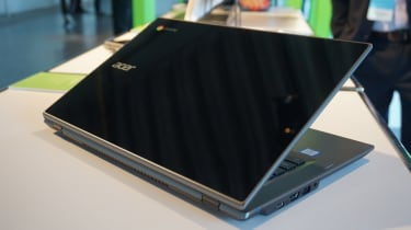 The Acer Chromebook 14 for Work from the rear with the lid half-closed