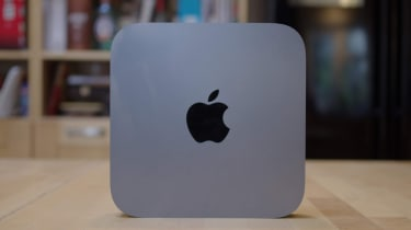 The Apple Mac Mini (2018) stood up from the front
