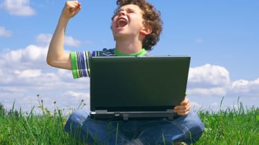 angry kid with computer