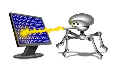 Robot attacking computer