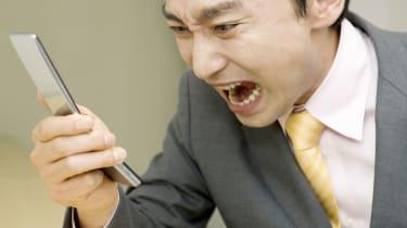 man yelling at phone