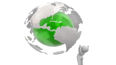 Figure underneath globe
