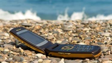 Mobile phone on beach