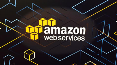 AWS logo on black background