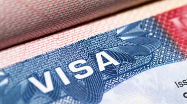 An immigration visa stamp