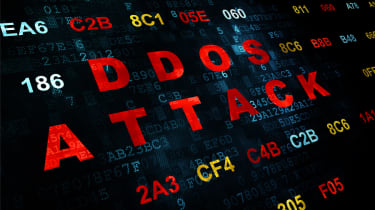 The words DDoS attack in red on a black background with other text