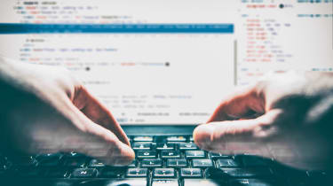 coding on a keyboard