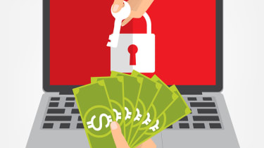 Graphic of a user engaging in a ransomware exchange