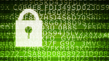 Graphic showing a digital padlock overlaid above information that has been encrypted