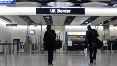 UK border at airport, customs checks
