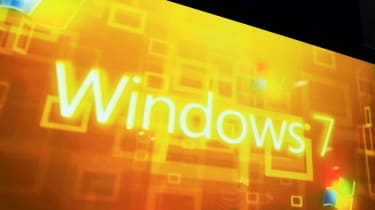 The Windows 7 branding shown on a massive screen