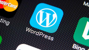 WordPress app icon on iOS device