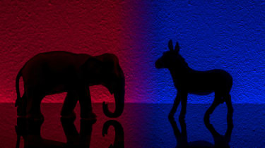The Republican and Democrat mascots on a contrasting coloured background