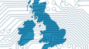 Map of UK with circuit board background