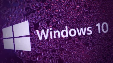 Microsoft's flagship OS Windows 10 on a purple graphic