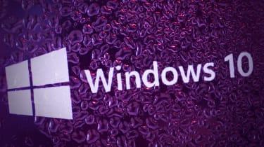 Microsoft's flagship OS Windows 10 on a purple graphic