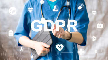 A photo of a doctor with GDPR overlayed in the foreground
