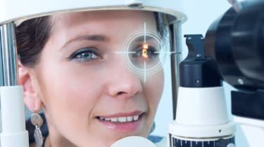 woman having eye scan