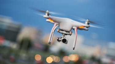 Drone flying at a jonty angle