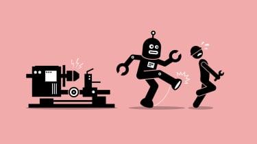 Robot kicking human in the caboose