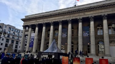 Picture outside the Paris stock exchange where the Orange Business Summit was held