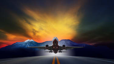 An image of a plane taking off against a highly stylised backdrop
