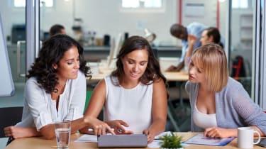 Three women at work