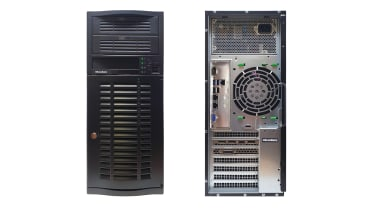 The front and rear of the Broadberry CyberServe Xeon SP1-P04S tower server