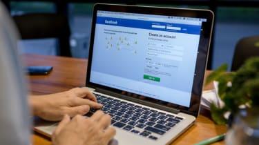 Facebook login page on laptop