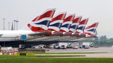 A line of British Airways aeroplanes