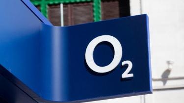 Photo of the O2 logo taken outside a branch in London