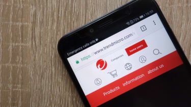 Trend Micro website displayed on a smartphone device